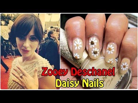 Zooey Deschanel Daisy Nails Golden Globes 2014 | Nailart tutorial