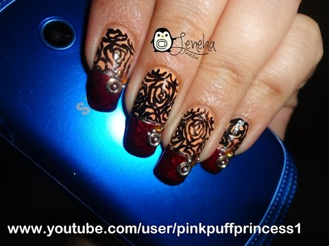 Black Flowers with Maroon Manicure Nail Art Tutorial