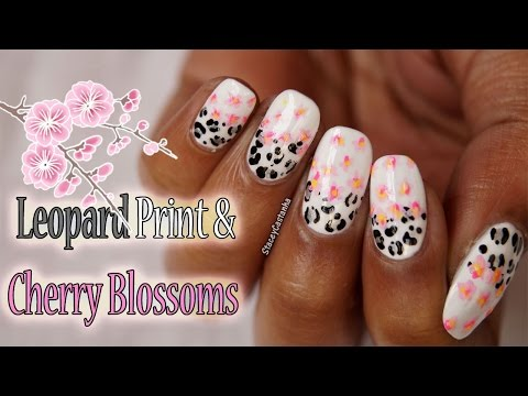 Delicate Cherry Blossoms and Leopard Print Nailart | Tutorial