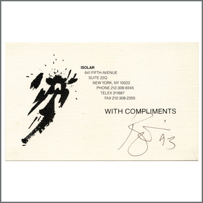 David Bowie signed Isolar compliments card.