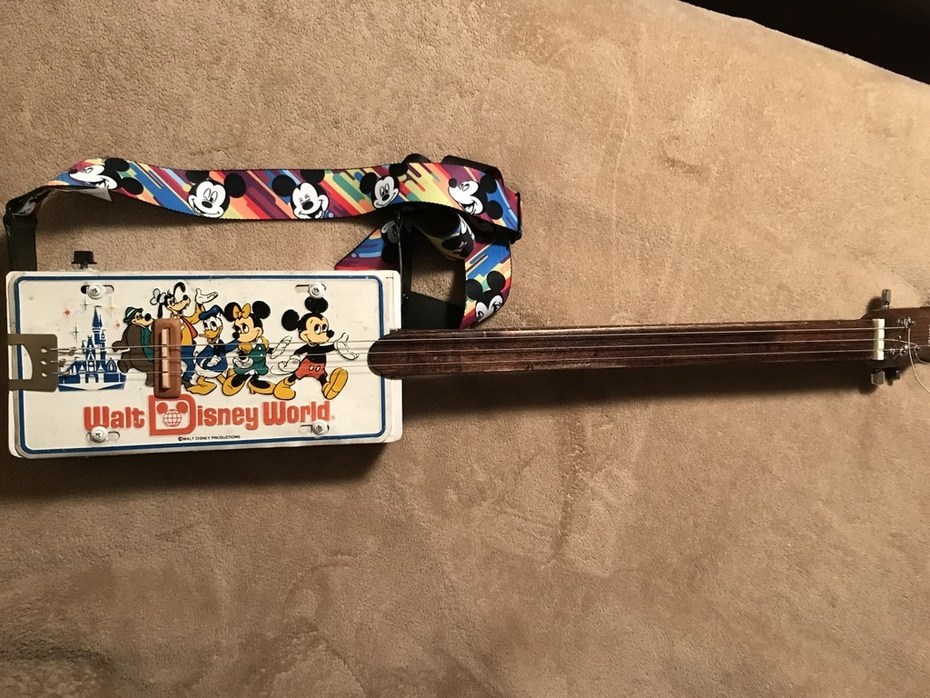 Mickey Mouse license plate guitar