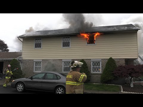 Early Video: Firefighters make attack on this house fire in Whitehall, Pennsylvania