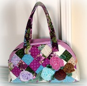 Quilted Purples Patchwork Purse + Fabric Flowers