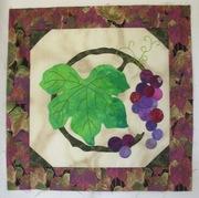 Hand Applique Art Quilt Block of Grapes
