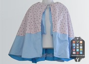 Blue & Pink Bow Satin Cape 003