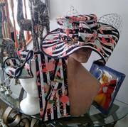 Stripe Hat w/Flowers, Fascinator and Clutch