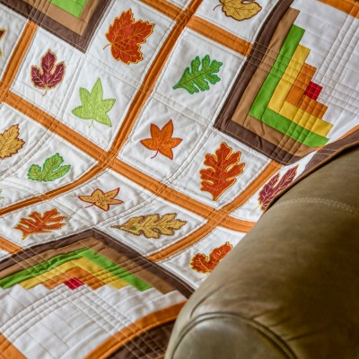 Free Autumn Leaves and Logs Quilted Wall Hanging Pattern