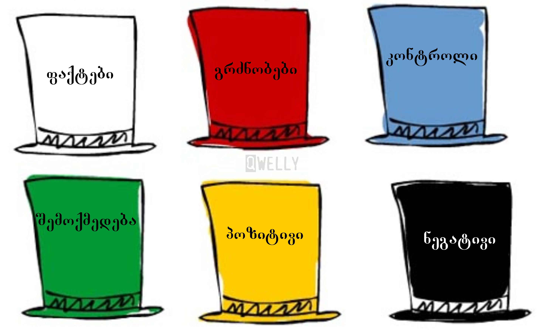bono, edward_de_bono, hats, psychology, qwelly, six_thinking_hats, აზროვნების_ექვსი_ქუდი, ბლოგი, ედვარდ_დე_ბონო, პოსტი, ფსიქოლოგია, ქველი, ქუდი