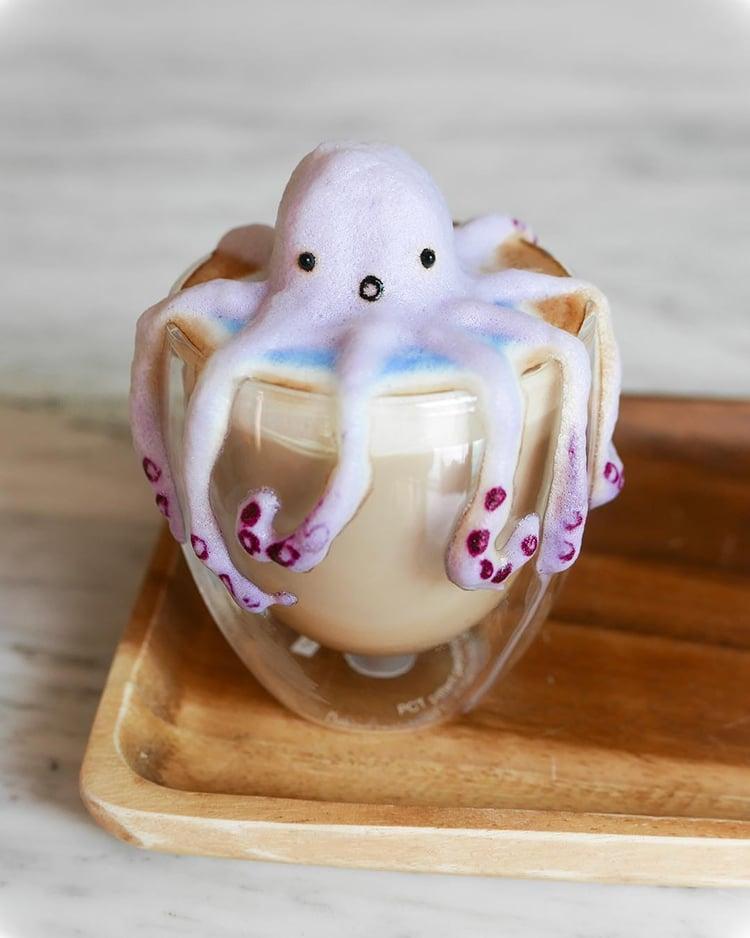 ლატე, ქაფი, ყავა, ლატეს გაფორმება, 3D გაფორმება, ბლოგი, ქველი, Qwelly, blog, latte, 3D painting, painting, art, xelovneba, ხელოვნება