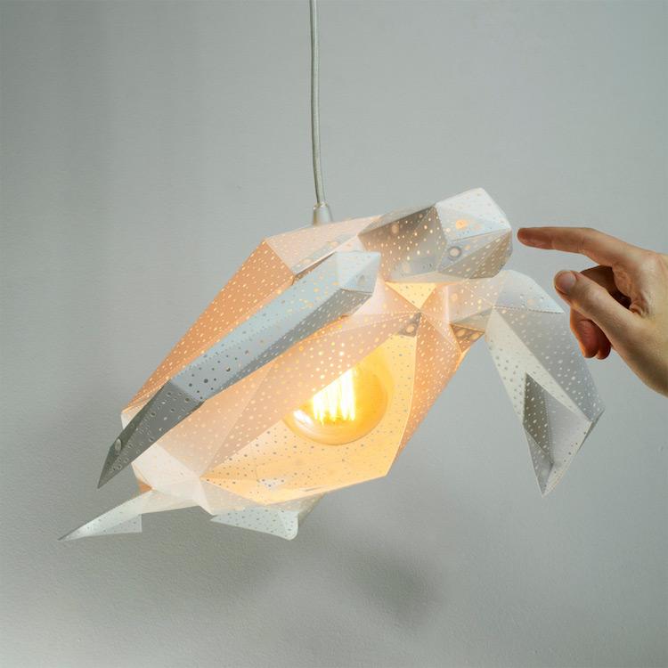 origami, ქველი, ბლოგი, ორიგამი, სანათი, ნაჩნიკი, ლამფა, ლამპა, ცხოველები, სანათები ცხოველების დიზაინით, ორიგინალური სანათები, სკულპტურა სანათები, Qwelly, origam, QwellyIdea, art, lamp, blog