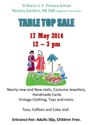 Table Top Sale this Saturday 17th May 2014
