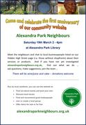 First Birthday event for Alexandra Park Neighbours website