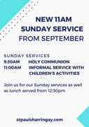 New 11am church service at St Paul's Harringay with children's activities and BBQ lunch