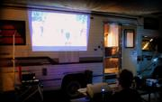 Movie night at the campground with the coach...