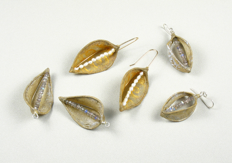 Printed Flax Earrings with Gems