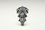 """Faux Real"" brooch 3 blue gems"