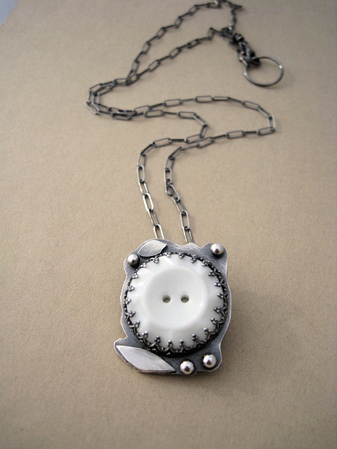 Vintage Milk Glass Button Necklace