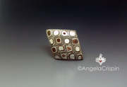 TicTacToe Copper and TicTacToe ring Face Copper clay silver clay ring LAngeEstLa by Angela Crispin