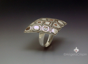 TicTacToe Copper and silver clay ring LAngeEstLa by Angela Crispin