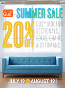 20% Off Summer Sale of Gus Modern until Aug 19th