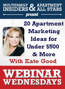 New Webinar! 20 Apartment Marketing Ideas for Under $500 & More
