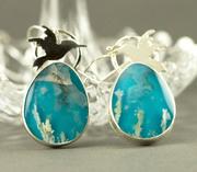 Plume Agate Hummingbird Earrings