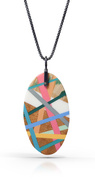 Wood and Plastic Riveted Necklace