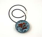 Blue fruitcake circle brooch & pendant