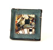 Blue nouveau framed brooch
