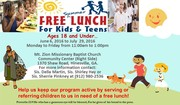 SUMMER FREE LUNCH FOR KIDS AND TEENS