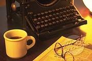 tekstschrijver en koffie