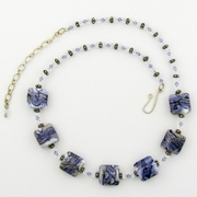 Swirling Purple Glass Pillows and Swarovski Crystal Necklace