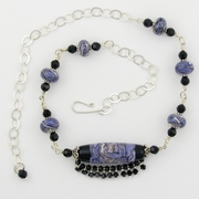 Swirling Purple Glass Fringed Centerpiece Wire Link Necklace