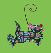 Leaping Black Dog Ornament