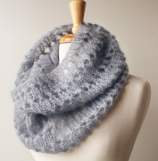 Kid Mohair and Silk Hand-Knit Cowl Scarf
