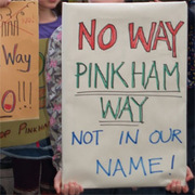 Demonstration at Haringey Council in opposition to the Pinkham Way Development