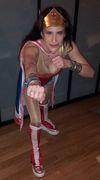 Lynn Julian as Wonder Woman in the Boston Urban Iditarod!