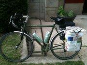 My long commute bike, loaded down for CSA pickup.