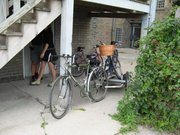 Burley Trailer, with homemade attachment for hauling a bike.