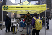 Kozy's Cyclery doing on-the-spot repairs