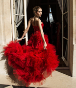 sexy tulle satin red wedding dress