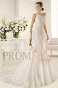 Trumpet/Mermaid Sleeveless Zipper One-shoulder Wedding Dresses