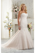 Exquisite Tulle Sweetheart Sleeveless Lace-up Mermaid Wedding Dresses