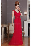 Special V-neck Sheath Cap Sleeves Zipper Evening Dresses