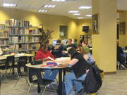 Class at library tables