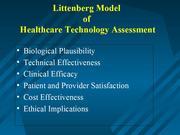 MedTech-IQ Littenburg Model Health Care Technology Assessment