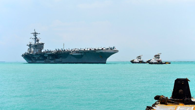 180402-N-QL164-007 CHANGI, Singapore (April 2, 2018) The aircraft carrier USS Theodore Roosevelt (CVN 71) is moored at Changi Naval Base in Singapore.