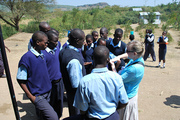 Sharon with students in Mbita Kenya
