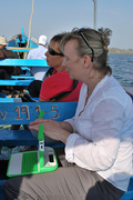 Sharon with XO on Lake Victoria