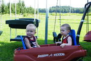 James and zach in the wagon2
